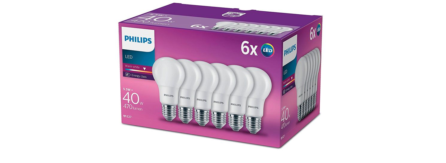 Oferta pack de 6 bombillas de led Philips 6W baratas amazon