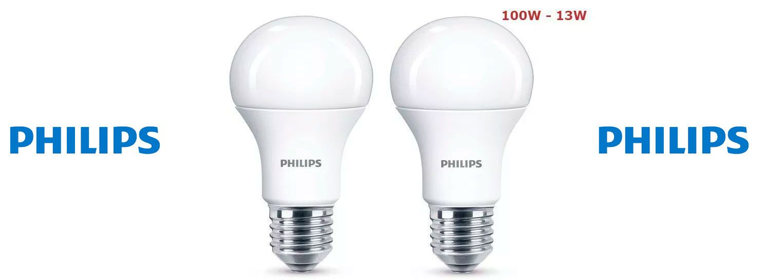 Oferta pack de 2 bombillas Philips de Led E27 13W
